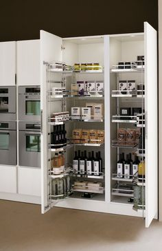 Elegant Modern Kitchen Pantry Design With White Paint Door Also Wooden Floor Kitche Interior Decoration Ideas Modern Kitchen Pantry Design in Various Minimalist Designs and Colors Kitchen design Kitchen Pantry Design, Luxury Kitchen Design, Diy Kitchen Storage, Home Decor Kitchen, Interior Design Kitchen, Kitchen Furniture, New Kitchen, Home Kitchens, Kitchen Cupboard