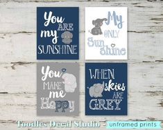 Baby Boy Room Decor Cute Elephant Prints 8x10