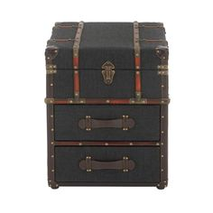 DecMode Fabric Trunk End Table with Drawers - 55787 End Tables With Drawers, End Tables With Storage, Table Storage, Wooden Side Table, Wood End Tables, Coffee Tables, Side Tables, Trunk End Table, Wooden Trunks