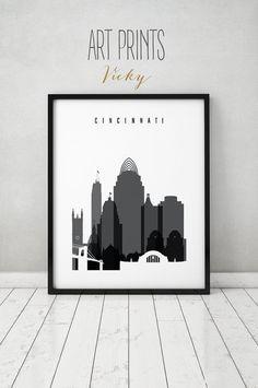 Cincinnati Poster Skyline Print Black And White Wall Art Ohio Cityscape City Travel Gift Home Decor Artprintsvicky