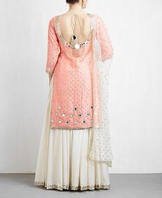 Peach and Off White Sharara Set Pakistani Dresses, Indian Dresses, Indian Outfits, Indian Clothes, Sharara Designs, Lehenga Designs, Sarara Dress, Prom Dress, Indian Designer Suits