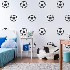 football wall stickers // from £7.99 //  FREE SHIPPING INCLUDED Boys Football Bedroom, Soccer Bedroom, Football Rooms, Football Wall, Kids Bedroom, Bedroom Wall, Kids Rooms, Boys Room Wallpaper, Kids Room Wall Stickers