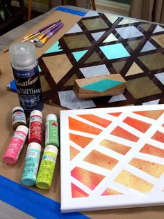 Make trendy geometric abstract art on wood with @lilyshop! Colorful and fast-trying, it's great for anyone to try! #homeandfamily