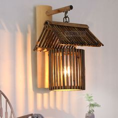 2017 NEW Country style vintage led sconce wall lights lamp made of bamboo for home bar ,e27 socket AC110-240V, bulb included. #Affiliate