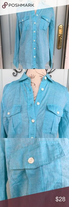 J. Crew Blue The Perfect Shirt Long Sleeve J. Crew Blue The Perfect Shirt Long Sleeve. Excellent condition. Great for layering. Perfect for the upcoming spring weather. J. Crew Tops Button Down Shirts