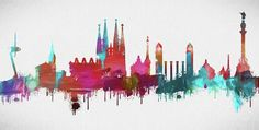 Barcelona Skyline Painting - Colorful Barcelona Skyline Silhouette by Dan Sproul Arts Barcelona, Artwork For Living Room, Skyline Painting, Skyline Silhouette, Silhouette Painting, Ganesha Art, Scrapbook, Prints For Sale, Doodle Art