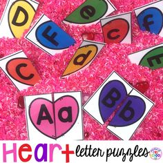 Valentine heart letter puzzles for preschool, pre-k, and kindergarten. Match uppercase and lowercase letters to complete the puzzle.