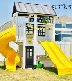 White Modern Farmhouse Playset Hack - Tidy Cape Cod - Erin Cremerius - Re-Wilding Backyard Playset, Backyard Playhouse, Build A Playhouse, Backyard Playground, Backyard For Kids, Kids Playset Outdoor, Costco Playhouse, Kids Outside Playhouse, Kids Playsets