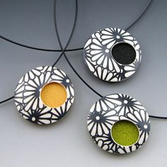 Contemporary polymer clay pendant necklace in modern black and white design on choker neckwire via Etsy