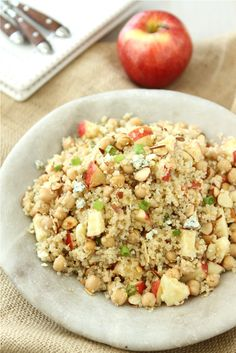 Quinoa Salad with Apple, Chickpeas, Toasted Almonds & Apple Cider Vinaigrette