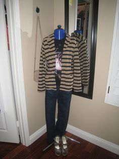 outfit, fall fashion 2014, american ballet theatre, striped jacket, brown and black, Forever 21, snakeprint wedges, Chinese Laundry, jeans, beige bag, bow, DSW