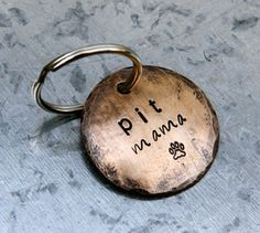 Custom Dog Lover Keychain - Pit Mama ... a perfect gift for Pitbull lovers (or customize with your breed) via Etsy [but probably in the 1inch size instead of this 1.5inch, if they still donate to pit rescue with that size]