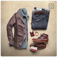Stitch Fix for Men- fall outfit inspiration. Love the layers. Denim button down with chunky tailored cardigan sweater.