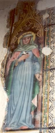 St. amalberga van Maubeuge ~ ca 1900. Wandschildering België, Ste-Rénelde, kerk.