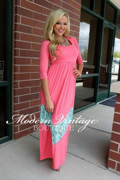 Modern Vintage Boutique - 3/4 Sleeve Coral and Blue Lace Maxi Dress, $52.00 (http://www.modernvintageboutique.com/3-4-sleeve-apricot-pink-and-blue-lace-maxi-dress.html)