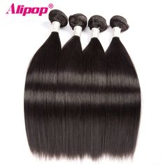 ==> [Free Shipping] Buy Best [ALIPOP] Straight Brazilian Hair Weave Bundles Remy Human Hair Bundles 10-28 Double Weft Hair Extension Natural Black 1 bundle Online with LOWEST Price | 32802891457