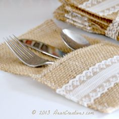 Burlap Utensil Holder- this + some of those silver plastic forks would be perfect for the wedding!