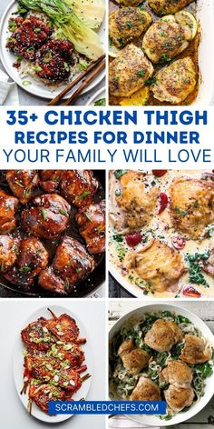 Add these chicken thighs recipes to your menu this week to create delicious flavor on a budget with simple preparation and a variety of flavor! This list includes tons of baked chicken thighs recipes, chicken casseroles, air fryer chicken, and more! #ChickenThighs #Chicken #recipes #dinner #chickenrecipe Greek Chicken Thigh Recipe, Chicken Thigh Recipes, Grilled Chicken Recipes, Crispy Baked Chicken Thighs, Chicken Fajita Casserole, Balsamic Glazed Chicken, Masala Recipe, Yum Yum Chicken, Curry Recipes