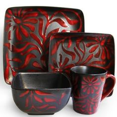 Enjoy this 16-piece dinnerware set with your family and friends. Constructed of ceramic and finished in black and red, this causal dish set includes dinner, and salad plates, soup bowls and mugs.