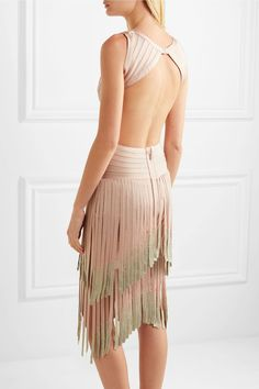 Hervé Léger - Cutout Dégradé Fringed Bandage Dress - Blush - xx small
