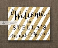 Gold Glitter Stripe Welcome Sign Black & Gold Bridal Shower ...