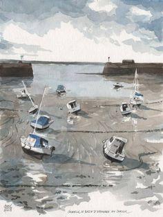 Aquarelle Sylvain Allaire -  Granville (Manche) Le bassin d'échouage en Janvier / Basse Normandie