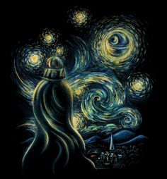 AboutDeath Starry Night Take a second look at that night sky. Because that's no moon. It's an elegant combination of the slickest villain and swoopiest artist around, on a badass black tee. Oh and it's a space station. But you know that. Because you're a fan of all the best art there is: pop culture, paintings, your own awesome forearms. Show it all off on a shirt you'll wear again and again, assuming you don't get paint on it or something. Always wear a smock, dummy. ALWAYS.