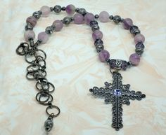 Cross on Frosted Purple and Grey Beaded Necklace
