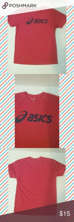 asics t shirt mens red