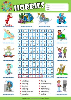 Hobbies Word Search Puzzle ESL Vocabulary Worksheet