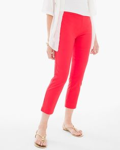 "Show off a great pair of legs (and a little ankle) with these cropped pants. You'll love the sleek, pull-on styling with a little bit of stretch.   The So Slimming™ collection: look instantly slimmer with our Hidden Fit™ technology, a secret interior stitching that creates a super-slim effect. Our crop pants sit just below the waist for a modern fit with maximum comfort. Regular Inseam: 24"". Petite Inseam: 22"". 76% rayon, 21% nylon and 3% spandex. Machine wash. Imported."