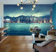 Hong Kong City Skyline Full Wall Mural Photo Wallpaper Print Kids Home 3D Decal #SweetHome