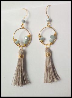 Items similar to - Black Tassel Earrings - Black, Gray, Gold Earrings - Tassel Jewelry - Metalwork - Boho Jewelry - Claribella on Etsy Quilling Earrings Jhumkas, Diy Earrings, Tassel Earrings, Fashion Earrings, Earrings Handmade, Silk Thread Earrings, Thread Jewellery, Tassel Jewelry, Beaded Jewelry