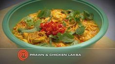 MasterChef Australia (Season Kuala Lumpur Chicken and Prawn Curry Laksa Chicken And Prawn Curry, Chicken Laksa, Curry Laksa, Curry Soup, Laksa Soup, Laksa Recipe, Masterchef Recipes, Masterchef Australia, Cooking Green Beans