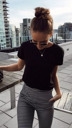 summer outfits Black Tee + Gingham Pants #dressescasual