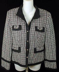 White House Black Market Tweed Blazer Jacket Womens Size 6 Black White