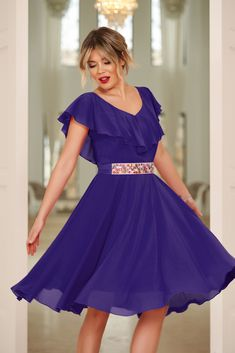 StarShinerS purple occasional cloche dress voile fabric with ruffle details accessorized with tied waistband Dress Outfits, Prom Dresses, Wedding Dresses, Baptism Dress, New Dress, Ruffles, June, Detail, Purple