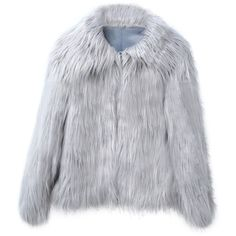 Gray Vintage Style Faux Fur Coat (170 RON) ❤ liked on Polyvore featuring outerwear, coats, jackets, faux coat, gray faux fur coat, imitation fur coats, grey coat and vintage style coats