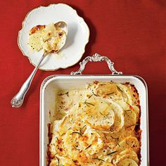 Fennel-and-Potato Gratin gets a punch of flavor from nutmeg and fennel. This cheesy potato gratin is impressive enough for a holiday party, but it's easy enough to put together on a busy weeknight.