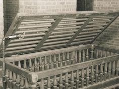 "Utica crib - 19th and 20th century psychiatry: after chaining patients was deemed cruel, this Utica Crib made out of wood or iron was used to keep patients from harming other patients or themselves. The patient slept in these ""cribs""."