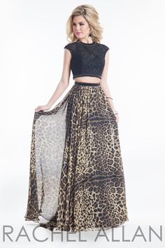 Rachel Allan 9002 Dress Two-Piece Lace Crop Top Cheetah Print Skirt 7b534dcca
