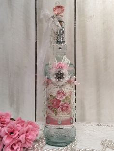Shabby chic altered bottle, cottage chic, Paris, roses