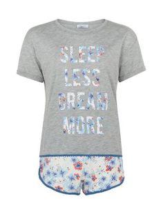 Teens Grey Floral Print Sleep Less Dream More Pyjamas  | New Look