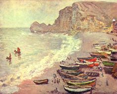 The Beach at Etretat, 1883 - Claude Monet Paintings Claude Monet, Monet Paintings, Landscape Paintings, Canvas Paintings, Painting Art, Artist Monet, Pierre Auguste Renoir, Impressionist Paintings, Oil Painting Reproductions