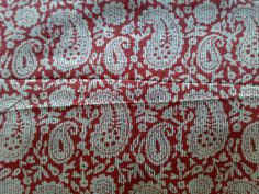 Indian Block Print Cotton Fabric Paisley White Burgandy by RaajMa, $2.00