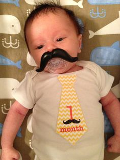 Chevron Tie Onesie Stickers for Baby Boys with Adorable Mustaches...Favorite Baby Shower Gift...Photo Prop...Fast Shipping. $9.00, via Etsy.