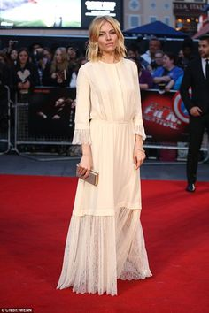 Sienna Miller in Michael Kors Spring 2016 attends the premiere of her new film High-Rise on October 9, 2015
