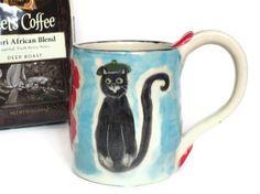 Cat Coffee Mug French Poppies BlueRedBlack by RisingStarPottery1, $14.00