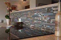 blue brown backsplash | blue and brown mosaic tile kitchen backsplash this open plan kitchen ...