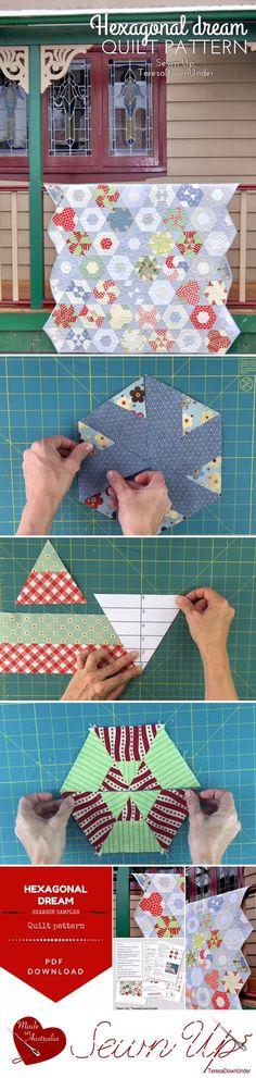 Quilt pattern: Hexagonal Dream hexagon sampler PDF